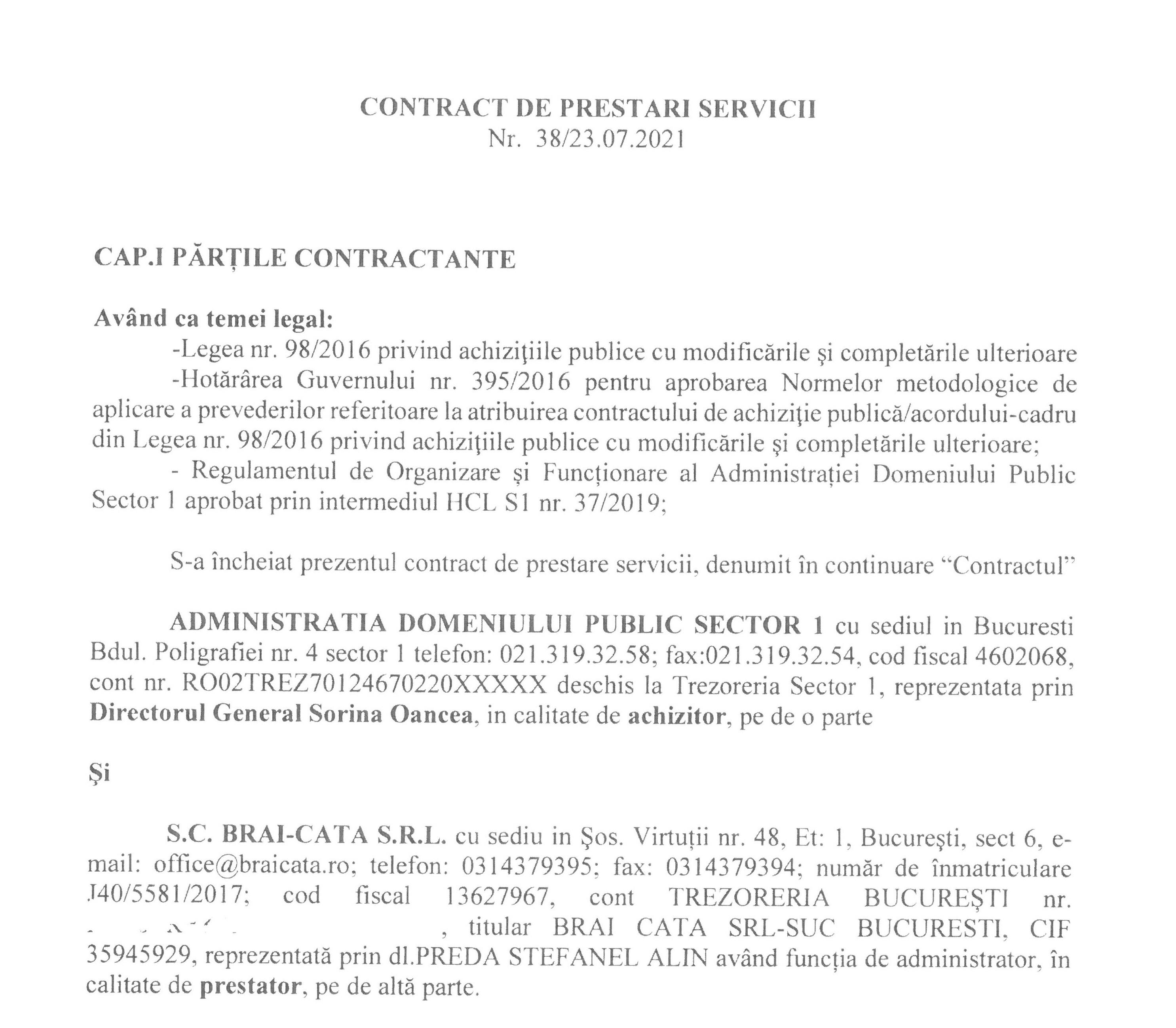 Publicăm contractul încheiat cu S.C. BRAI-CATA S.R.L. pentru activitatea de colectare, transport, depozitare/eliminare deșeuri