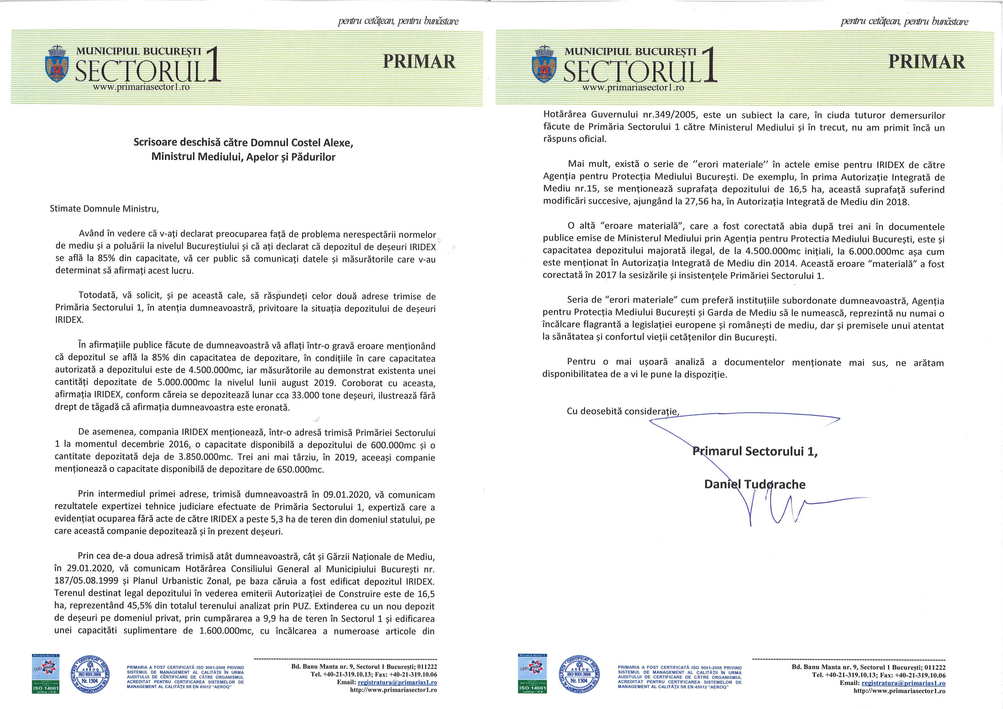 Scrisoare deschisă către Domnul Costel Alexe,  Ministrul Mediului, Apelor și Pădurilor